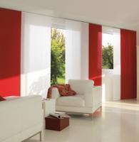 Fehér és piros színű lapfüggöny